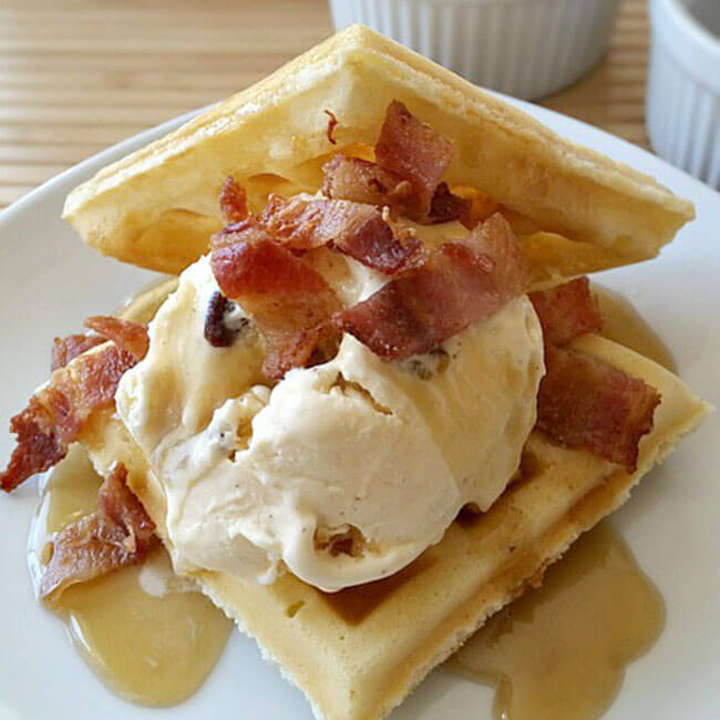 Waffle Ice Cream with Maple Butter Syrup