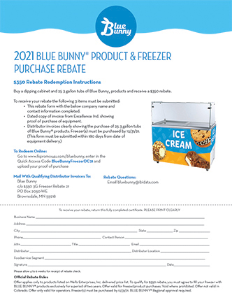 $350 Blue Bunny Product & Freezer Purchase Rebate