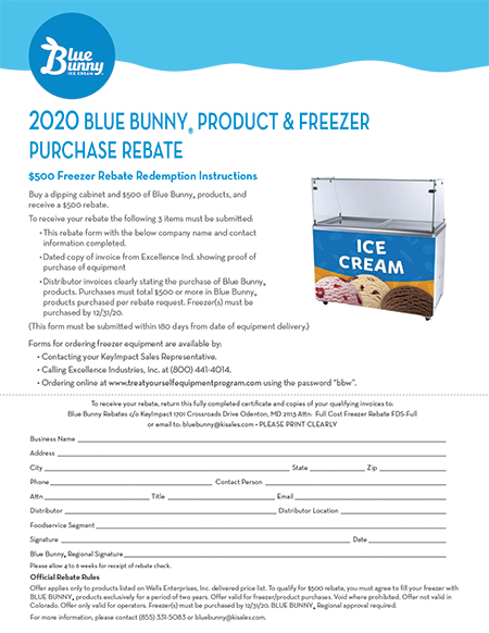 $500 Blue Bunny Product & Freezer Purchase Rebate
